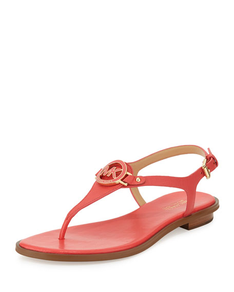 MICHAEL Michael Kors Lee Leather Flat T-Strap Sandal, Watermelon