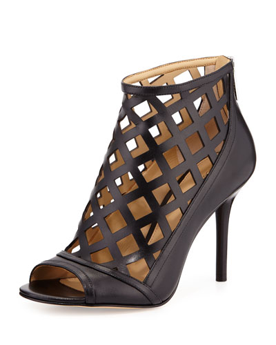 Yvonne Laser-Cut Open-Toe Bootie, Black