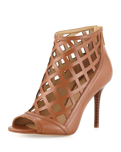 Yvonne Laser-Cut Open-Toe Bootie, Luggage