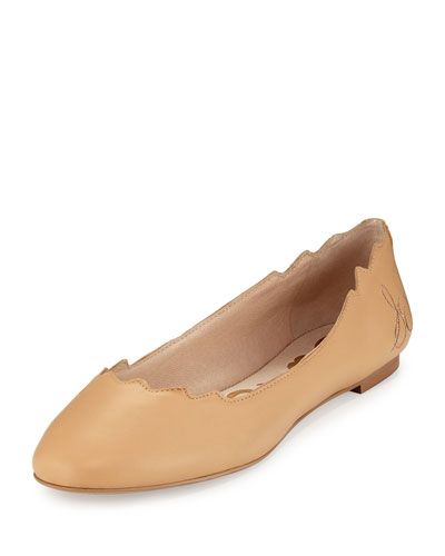 Augusta Scalloped Leather Flat, Cool Sand