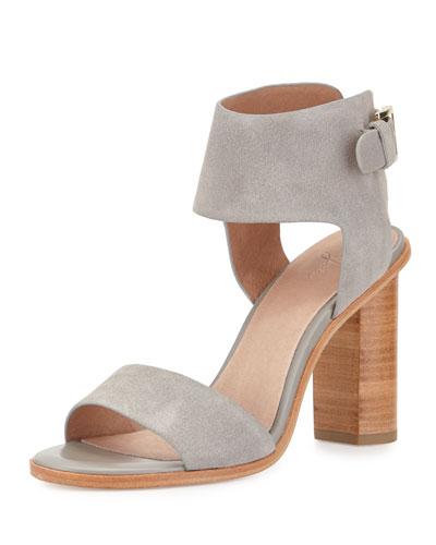 Opal Leather High-Heel City Sandal, Dove