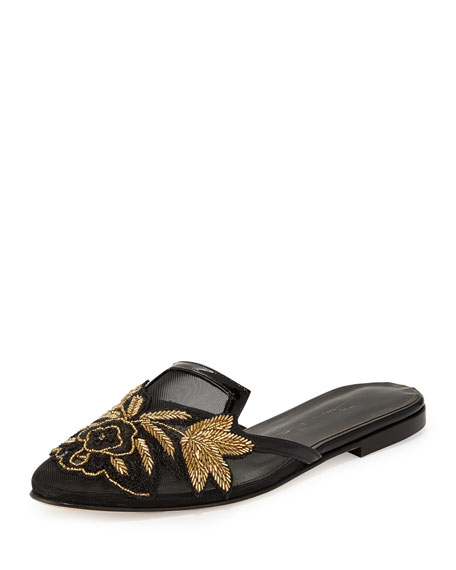Patrizia Embroidered Slip-On Flat Mule, Black/Gold