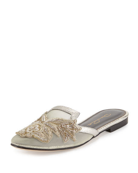 Oscar de la Renta Patrizia Embroidered Slip-On Flat