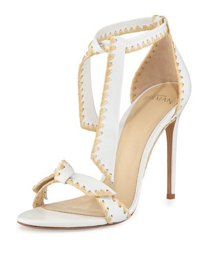 Clarita Whipstitch Leather Sandal, White/Natural