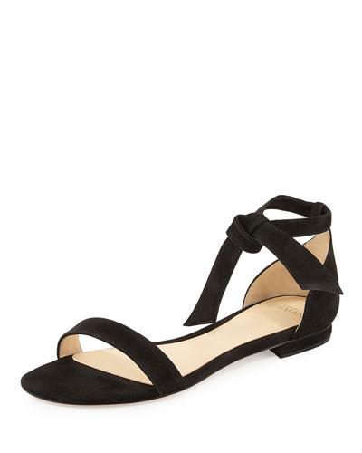 Clarita Suede Ankle-Tie Flat Sandal, Black