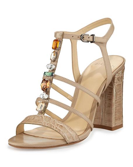 Alexandre Birman Cindy Crocodile 90mm T-Strap Sandal, Cream