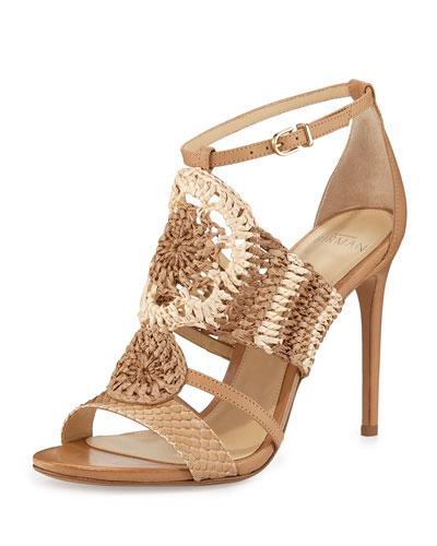 Jenne Crochet High-Heel Sandal, Tropic Latte