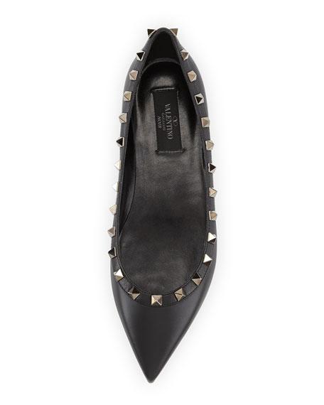 Rockstud Noir Leather Ballerina Flat, Black