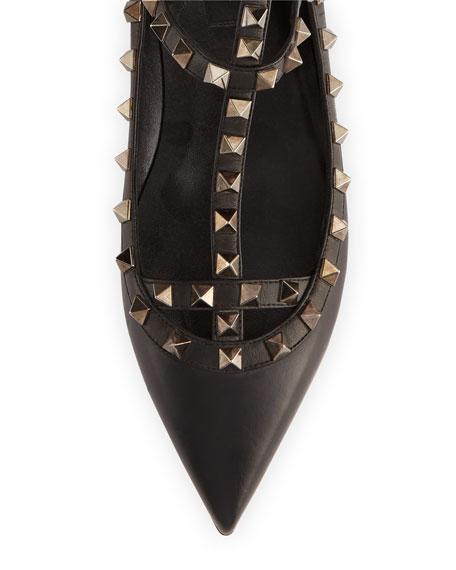 Rockstud Noir Caged Ballerina Flat, Black