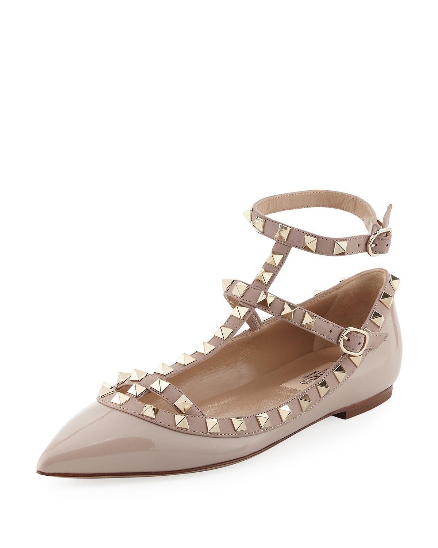 d45a3659510d Valentino Garavani Rockstud Patent Caged Ballet Flat