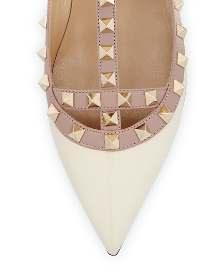 Rockstud Patent Caged Ballerina Flat, Ivory/Poudre