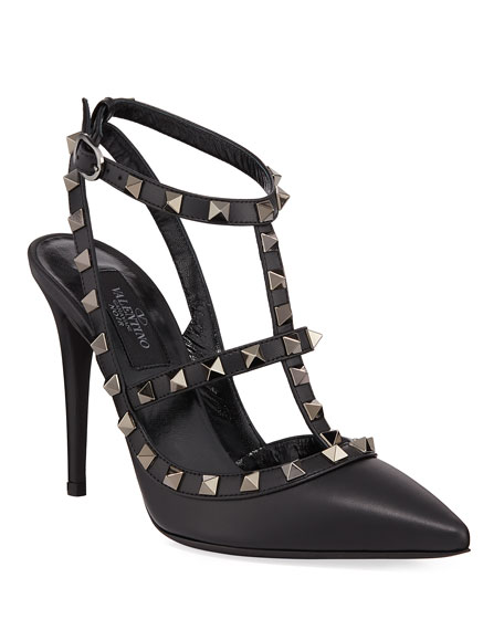 Rockstud Noir Slingback 100mm Pump, Black