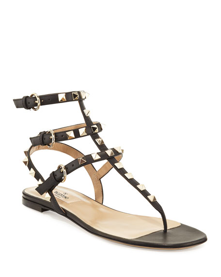 Valentino Garavani Rockstud Flat Thong Sandal, Black
