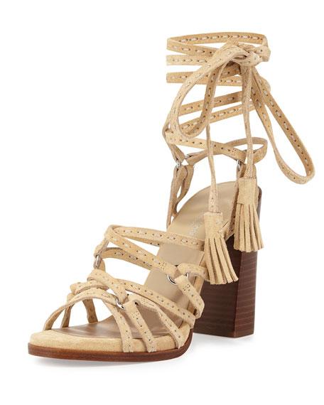 Michael Kors Collection Rowan Suede Lace-Up Sandal, Ecru