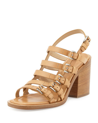 Marie Runway Leather Buckle Sandal, Peanut