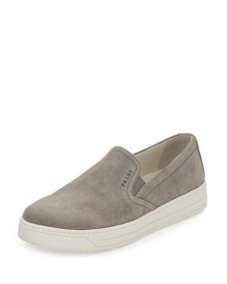 Prada Suede Skate Sneaker, Gray (Acciaio)