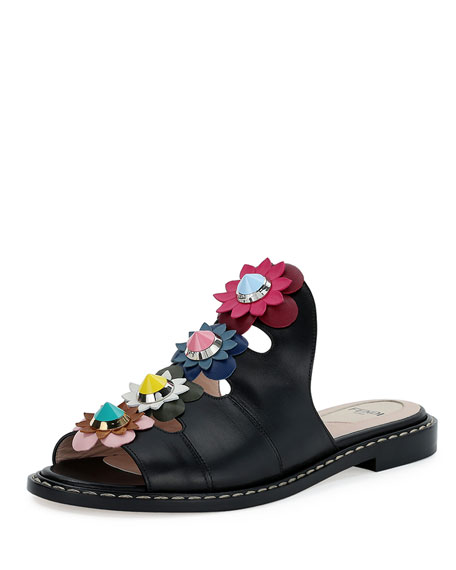 Fendi Floral-Appliqué Leather Mule Sandal, Nero/Multi