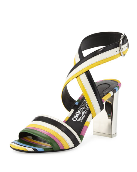 Salvatore Ferragamo Gilli 85mm Striped Sandal, Nero