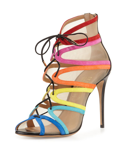 Amber Suede Lace-Up Sandal, Bluette