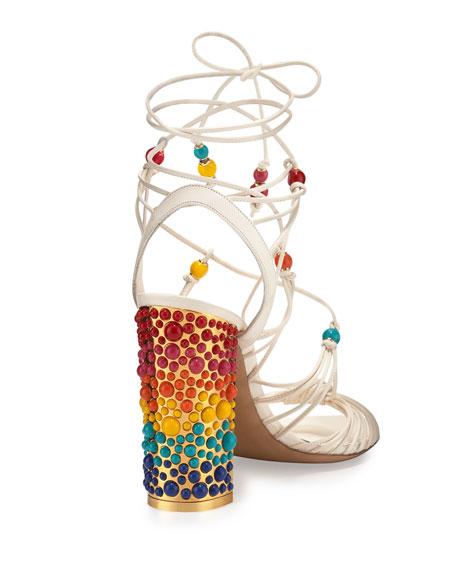 Rainbow Beaded Gladiator Sandal, Lait