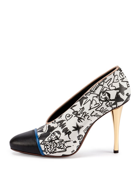 Printed Cap-Toe 110mm Pump, White/Black