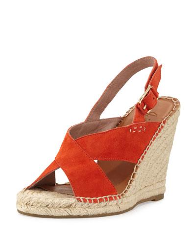 Jace Crisscross Slingback Wedge Sandal, Orange