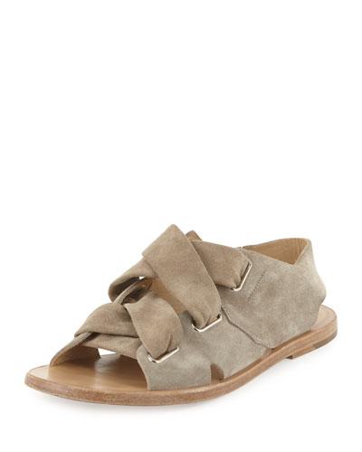 Elda Suede Lace-Up Flat Sandal, Gray