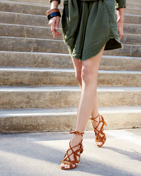 Tonni Suede Strappy Sandals, Whiskey