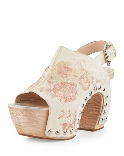 Embroidered Platform Clog Sandal, Pink