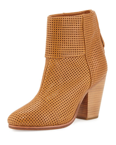 Classic Newbury Perforated Bootie, Walnut