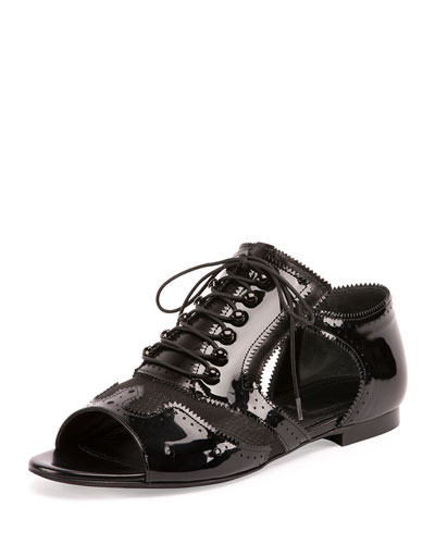 Patent/Mesh Open-Toe Oxford, Black