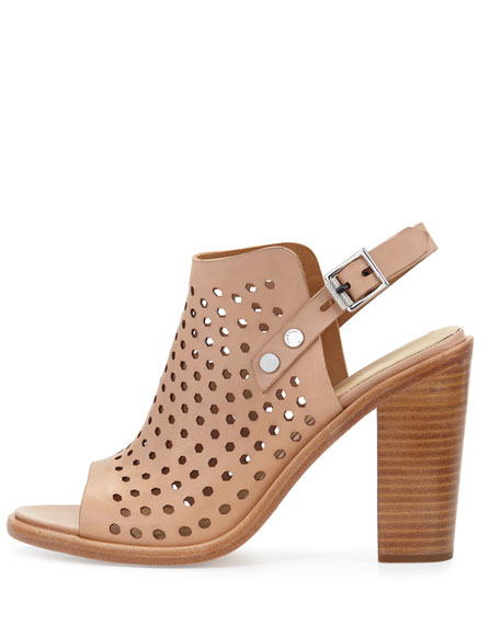 Wyatt Perforated Leather City Sandal, Nude
