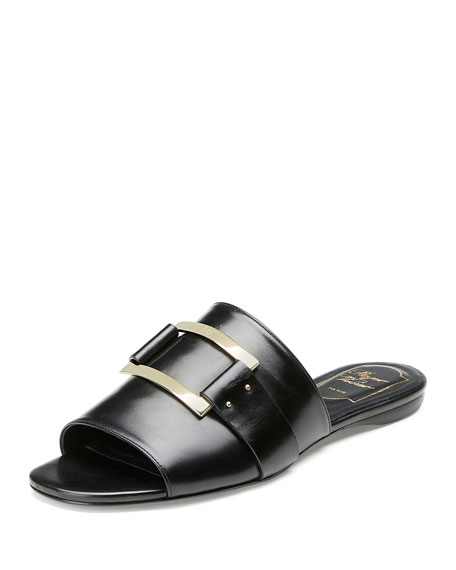 Image 1 of 3: Square-Buckle Flat Slide Sandal, Black
