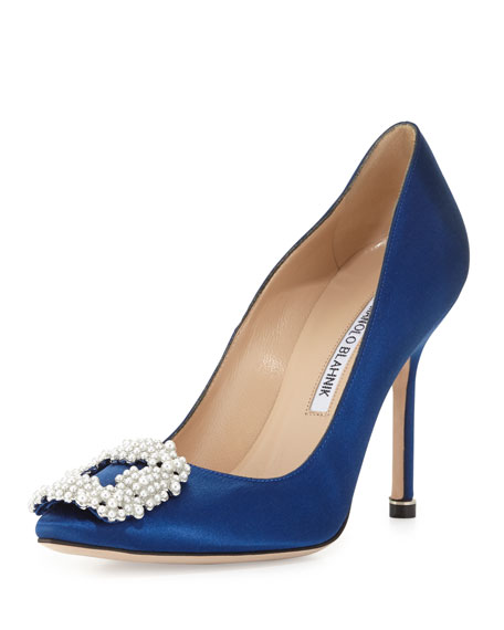 Manolo Blahnik Hangisi Pearly-Buckle Satin 105mm Pump, Cobalt