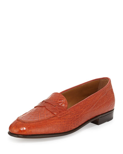 Crocodile-Embossed Penny Loafer, Orange