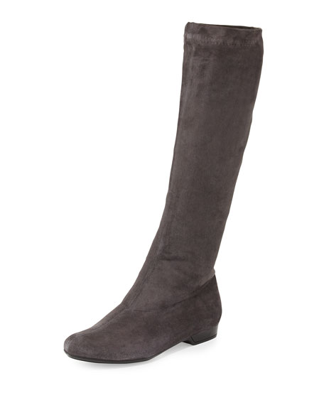 Robert Clergerie Folonj Suede Knee Boot, Anthracite