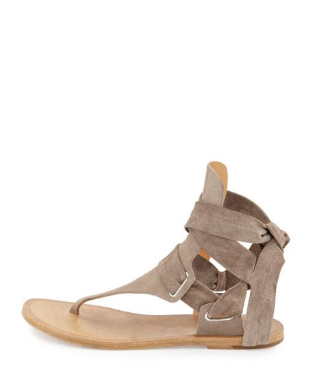Mara Suede Ankle-Tie Sandal, Warm Gray