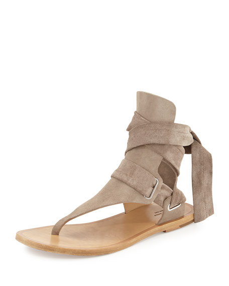 Mara Suede Ankle-Tie Sandal, Warm Gray