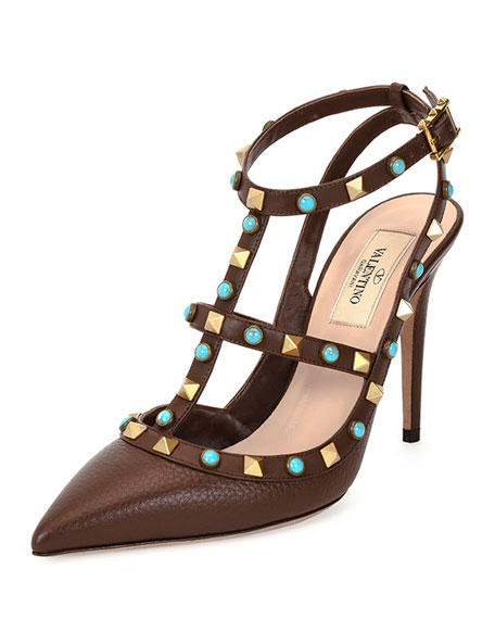 Valentino Rockstud Leather T-Strap Pump, Cacao/Turquoise