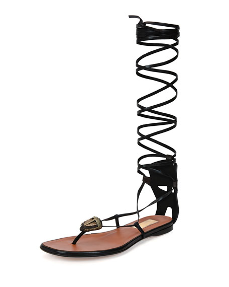 Valentino Mask-Detail Flat Lace-Up Sandal, Brown/Black (Ebano/Nero)
