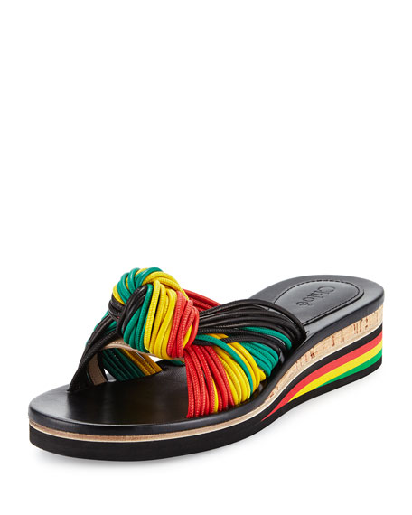 Chloe Jamaica Knotted Wedge Sandal, Black/Multi