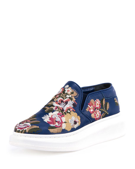 Alexander mcqueen embroidered slip on sneaker navy multi