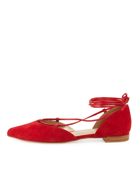 Gilligan Lace-Up d'Orsay Flat, Red