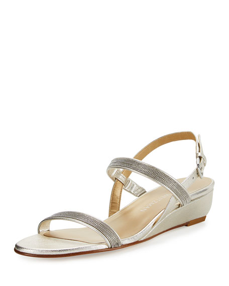 Stuart Weitzman Inchains Leather Demi-Wedge Sandal