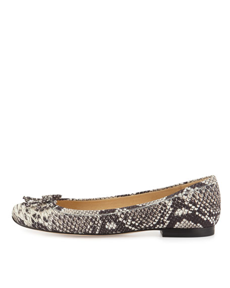 Shoestring Snakeskin-Embossed Ballerina Flat, Natural