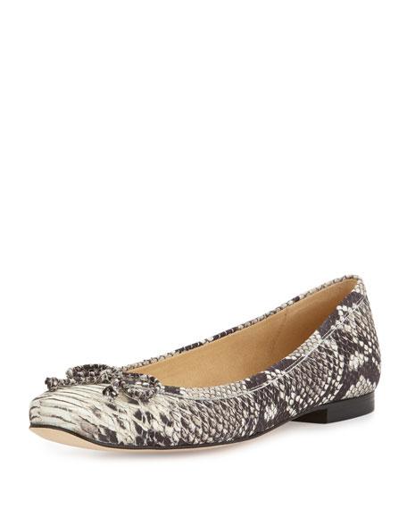 Shoestring Snakeskin-Embossed Ballerina Flat, Natural
