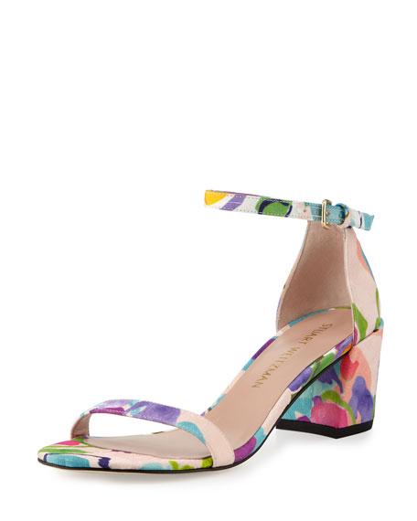 Simple Printed Jacquard Chunky-Heel Sandal
