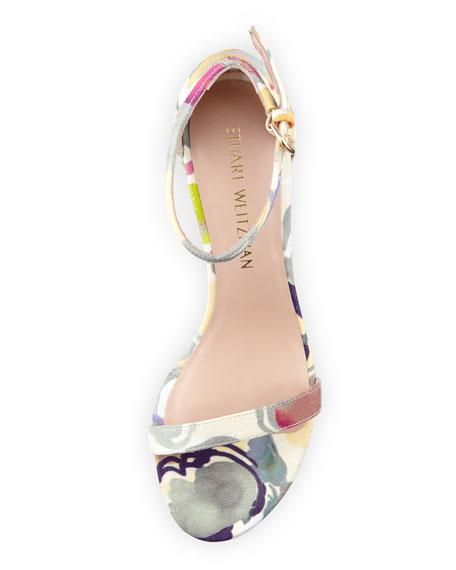 Simple Printed Jacquard Chunky-Heel Sandal, Canary