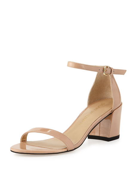 Simple Patent Chunky-Heel City Sandal, Adobe