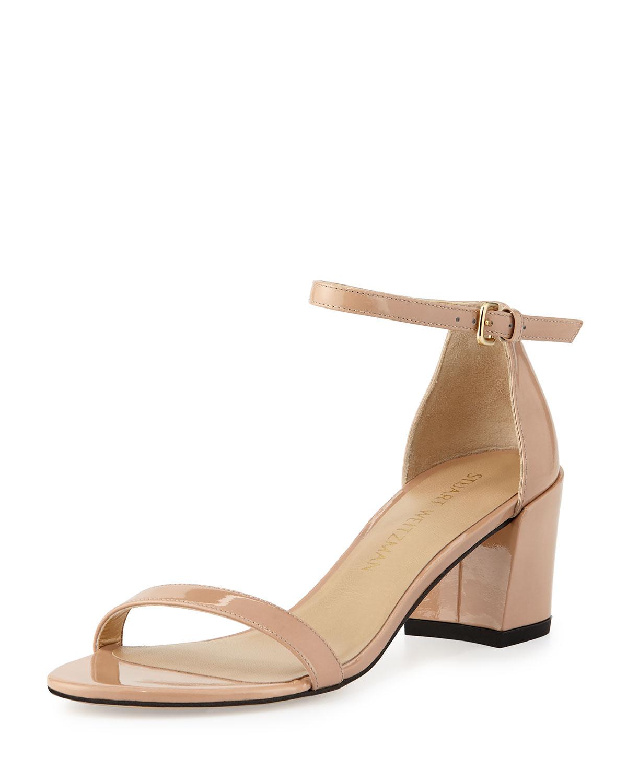 c06e3fedc6ee Stuart Weitzman Simple Patent Chunky-Heel City Sandal